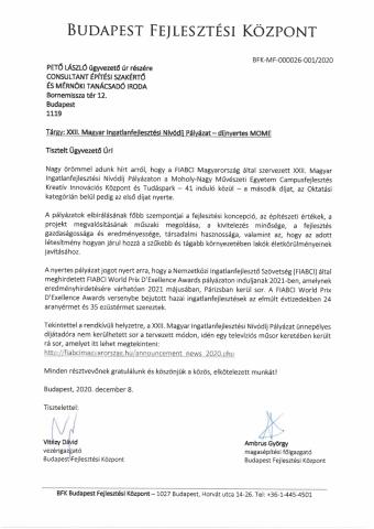 FIABCI XXII. Magyar Ingatlanfejlesztési Nívódíj MOME Campus Fejlesztés oktatási kategória második díj